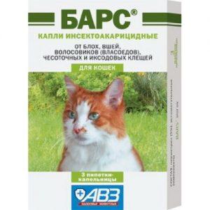 Барс капли против блох и клещей для кошек, 3 пипетки/уп.