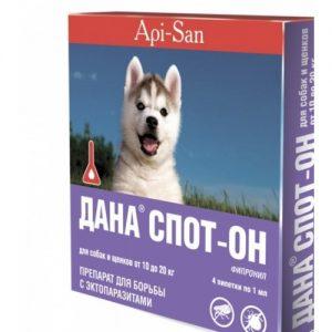 ДАНА СПОТ-ОН для собак и щенков от10до20 кг,4 пипетки/уп.