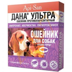 ДАНА Ультра ошейник для ср. пород собак,противопаразитарный., 1 шт.