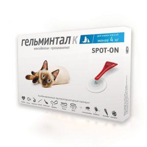 Гельминтал К spot-on, капли на холку д/кош до 4 кг