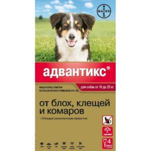 Адвантикс для   собак от 10 до 25 кг, 4 пипетки/уп.