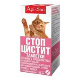 Стоп-цистит  таблетки д/кошек,15 таб.(Апи-Сан)